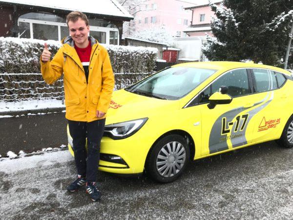 Super Prüfungsfahrt trotz Schnee – Gratulation